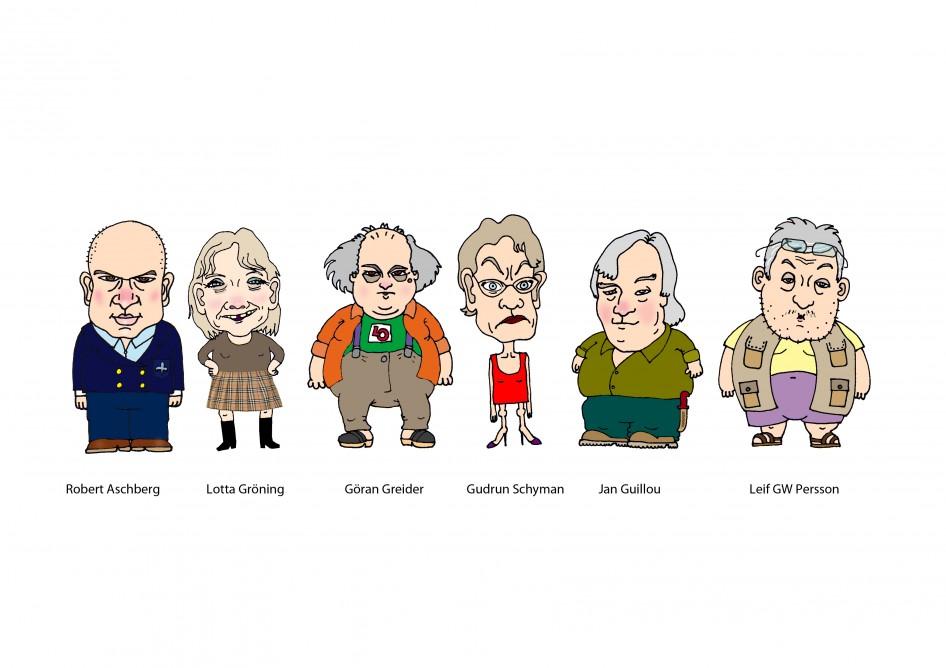 """""""Robert Aschberg"""" """"Lotta Gröning"""" """"Göran Greider"""" """"Gudrun Schyman"""" """"Jan Guillou"""" """"Leif GW Persson"""""""